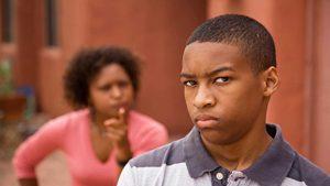 Mom disciplining teen
